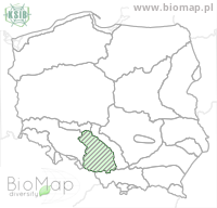 Ampedus quadrisignatus - Data on distribution in Poland - Biodiversity Map: KFP regions — minimap