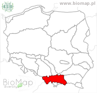 Ampedus sinuatus - Data on distribution in Poland - Biodiversity Map: KFP regions — minimap