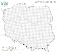 Esolus parallelepipedus - Data on distribution in Poland - Biodiversity Map: UTM 10×10 — minimap