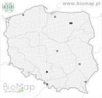 Margarinotus terricola - Data on distribution in Poland - Biodiversity Map: UTM 10×10 — minimap